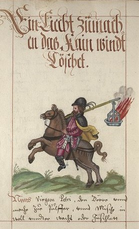 Man with Explosive, 16th century manuscript