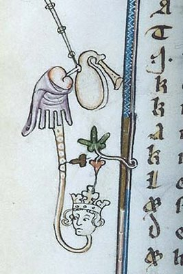 Marginalia - King with Bagpipe in Butt